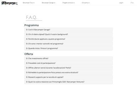 Screenshot of FAQ Page barcamper.it - Barcamper Garage - FAQ - captured Nov. 6, 2018