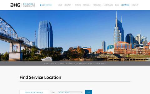 Screenshot of Locations Page dhglabe.com - Contact Construction Engineering Experts | DH Glabe & Associates - captured Oct. 11, 2017