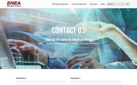 Screenshot of Contact Page owmobility.com - Contact - Enea Openwave - captured Nov. 22, 2019