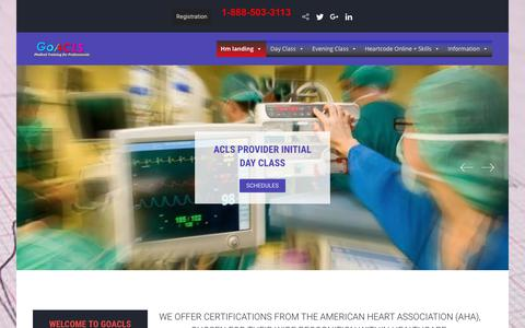 Screenshot of Home Page goacls.com - GoACLS Training Center – American Heart Association Courses Everyday - captured Dec. 15, 2018