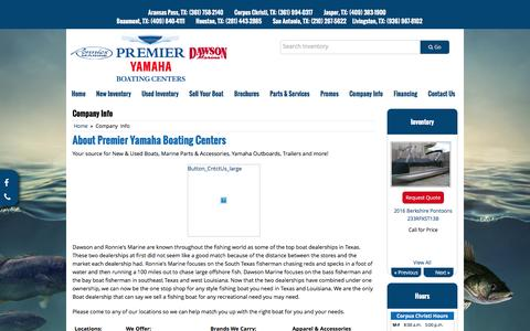 Screenshot of About Page premier-yamaha.com - Company Info Premier Yamaha Boating Centers - captured June 16, 2016