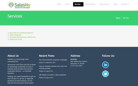 Screenshot of Services Page salesnv.com - Sales Training Programs for Technology Companies - captured Sept. 30, 2014