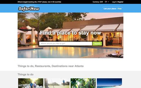 Screenshot of Home Page safarinow.com - South Africa Accommodation | Largest Accommodation Booking Site in Africa, 21360 establishments! - captured Sept. 18, 2014