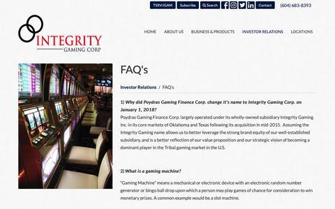 Screenshot of FAQ Page integritygaming.com - FAQ's > Investor Relations | Integrity Gaming Corp. - captured Oct. 12, 2018