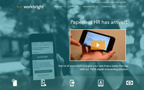 Screenshot of Home Page workbright.com - Employee Onboarding, Digital Onboarding, Paperless HR   WorkBright - captured Aug. 10, 2016