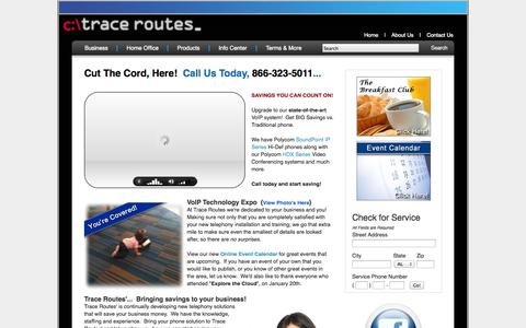 Screenshot of Home Page tracerts.com - Ohio VoIP, Business Class Phone, SIP provider.  Trace Routes.  Let us show your business what we can do for you! - captured Oct. 6, 2014