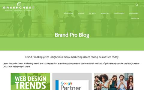Screenshot of Blog greencrest.com - Brand Pro Blog - - captured Sept. 16, 2018