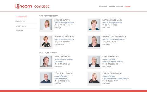 Screenshot of Contact Page lijncom.be - Lijncom Contact - captured July 19, 2018