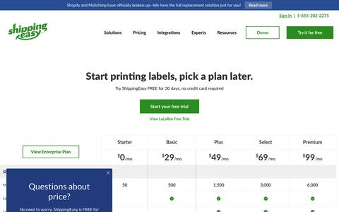 Screenshot of Pricing Page shippingeasy.com - ShippingEasy Pricing and Plans | Shipping Software for Online Sellers - captured May 22, 2019