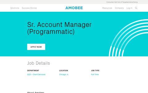 Screenshot of Jobs Page amobee.com - Sr. Account Manager (Programmatic) — Amobee - captured Nov. 18, 2019
