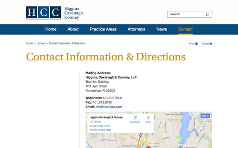 Screenshot of Contact Page Maps & Directions Page hcc-law.com - Contact Information & Directions - Contact - Higgins, Cavanagh & Cooney, LLC - captured Oct. 22, 2014