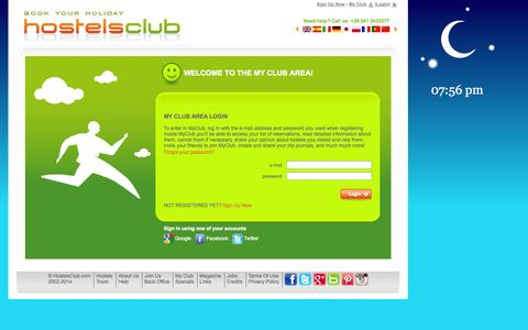 Screenshot of Login Page hostelsclub.com - My Club area login - HostelsClub.com - captured Sept. 19, 2014