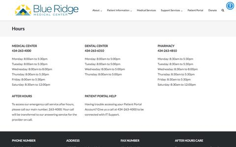 Screenshot of Hours Page brmedical.org - Hours - Blue Ridge Medical Center - captured Oct. 10, 2017