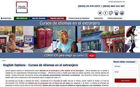 Screenshot of Home Page englishoptions.net - English Options - Cursos de idiomas en el extranjero - captured Jan. 29, 2016