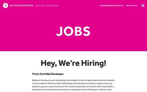 Screenshot of Jobs Page bigroomstudios.com - Jobs Ľ Big Room Studios - captured Jan. 3, 2016