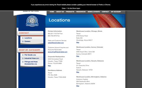 Screenshot of Locations Page texcelrubber.com - Locations | Texcel - captured Oct. 26, 2014