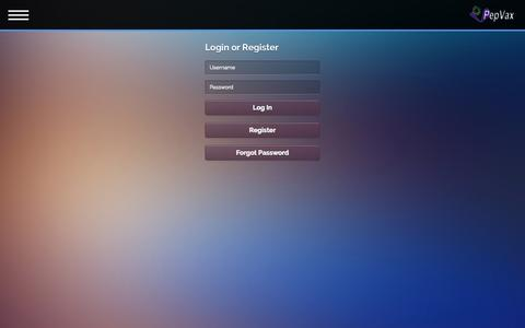 Screenshot of Login Page pepvax.co - Login - captured Sept. 29, 2014