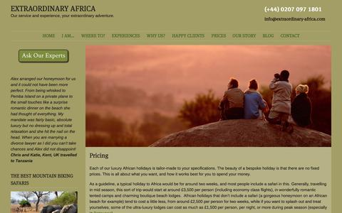 Screenshot of Pricing Page extraordinary-africa.com - Pricing | EXTRAORDINARY AFRICA - captured Sept. 30, 2014