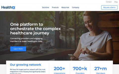 Screenshot of Home Page healthx.com - Health Plan Portals and Solutions for Member Engagement | Healthx - captured June 21, 2018