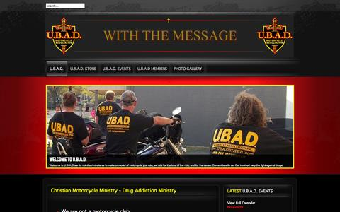 Screenshot of Home Page ubadbiker.com - Christian Motorcycle Ministry - Drug Addiction Ministry   Christian Motorcycle Association - United Bikers Against Drugs - captured Oct. 7, 2014