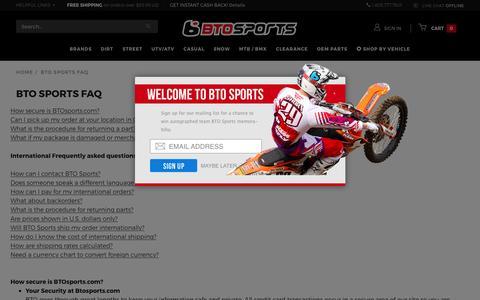 Screenshot of FAQ Page btosports.com - BTO SPORTS: BTO Sports FAQ - captured Feb. 7, 2016