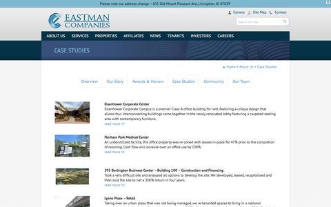 Screenshot of Case Studies Page eastmancompanies.com - Eastman Companies» Case Studies - captured July 10, 2016
