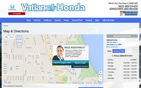 Screenshot of Maps & Directions Page vatland.com - Map & Directions | Vatland Honda Dealership - captured Feb. 26, 2016