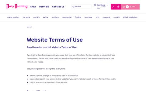 Screenshot of Terms Page babybunting.com.au - Website Terms of Use | Baby Bunting - captured July 5, 2019