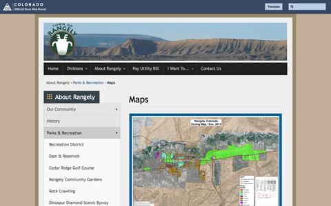 Screenshot of Maps & Directions Page colorado.gov - Maps | Town of Rangely - captured Jan. 23, 2017