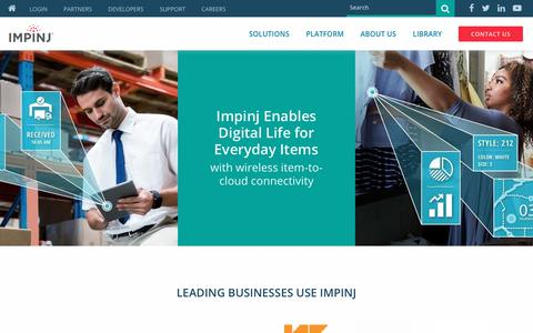 Screenshot of Home Page impinj.com - Impinj - RAIN RFID Solutions and Platform for the Internet of Things - captured Feb. 6, 2020