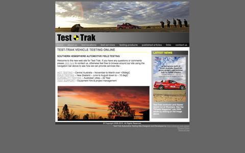Screenshot of Home Page test-trak.com - Test-Trak SOUTHERN HEMISPHERE AUTOMOTIVE FIELD TESTING - captured Oct. 7, 2014