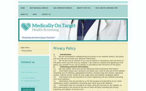 Screenshot of Privacy Page mothealth.co.uk - Medically On Target - The essential occupational health resource - Privacy Policy - captured Oct. 27, 2014