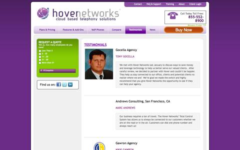 Screenshot of Testimonials Page hovernetworks.com - Testimonials - Hover Networks - captured Sept. 30, 2014