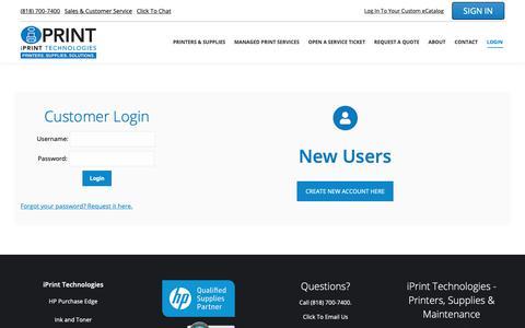 Screenshot of Login Page iprinttechnologies.com - User Login | iPrint Technologies - captured Dec. 10, 2018