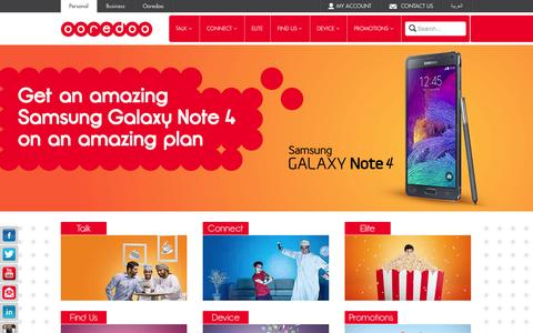 Screenshot of Home Page ooredoo.om - Personal - Ooredoo, Ooredoo Oman - captured Jan. 29, 2015