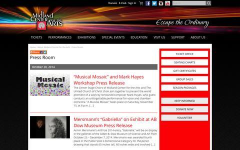Screenshot of Press Page mcfta.org - Press Room - Midland Center for the Arts - captured Oct. 27, 2014