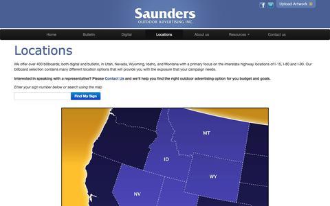 Screenshot of Locations Page saundersoutdoor.com - Billboards in Montana, Wyoming, Idaho, Utah or Nevada - captured Oct. 2, 2018