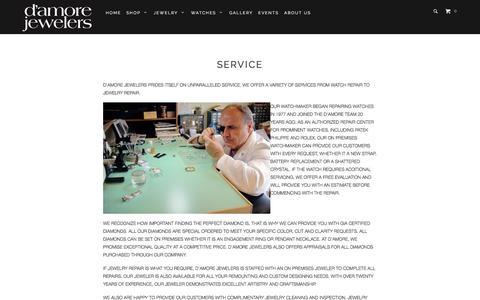 Screenshot of Services Page damorejewelers.com - Service - D'Amore Jewelers - captured Nov. 15, 2016