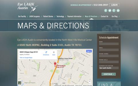 Screenshot of Maps & Directions Page eyelasikaustin.com - Directions To Our Facility | Eye LASIK Austin - captured Sept. 30, 2014
