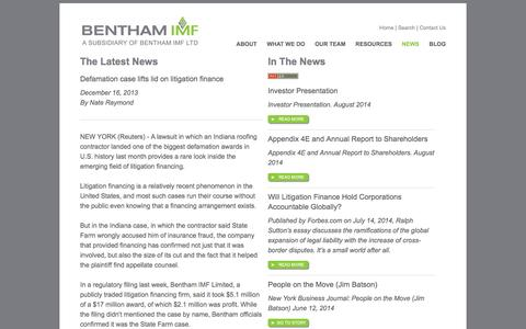 Screenshot of Press Page benthamimf.com - BENTHAM IMF News - Commercial Litigation Capital Funding - captured Sept. 30, 2014