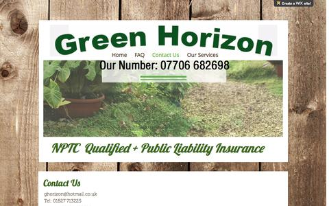 Screenshot of Contact Page greenhorizon.co - Gardening | Atherstone | GreenHorizon | Contact Us - captured May 13, 2017