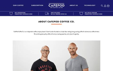 Screenshot of About Page cafepod.com - About Us | CafePod Coffee Co. - captured Sept. 26, 2018