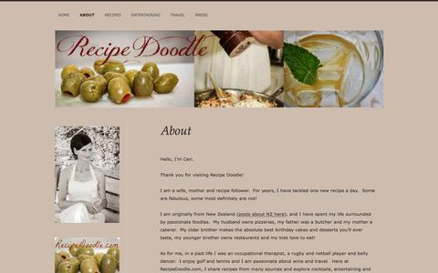 Screenshot of About Page wordpress.com - About | Recipe Doodle - captured May 6, 2016
