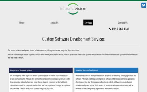 Screenshot of Services Page infused-vision.com - Custom Software Development Services | Infused Vision - captured Nov. 6, 2018