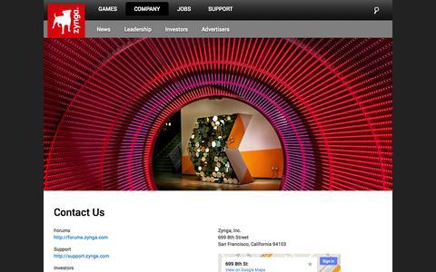 Screenshot of Contact Page zynga.com - Contact Us | Zynga - captured Oct. 28, 2014