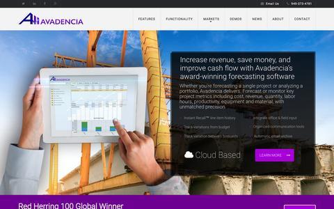 Screenshot of Home Page avadencia.com - Avadencia | Award-Winning Forecasting Software - captured June 17, 2015