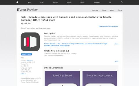 Screenshot of iOS App Page apple.com - Pick - Schedule meetings with business and personal contacts for Google Calendar, Office 365 & more on the App Store - captured Nov. 11, 2015