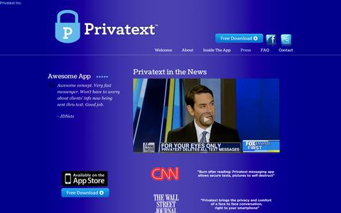 Screenshot of Press Page privatext.co - Press | Privatext - captured Sept. 11, 2014