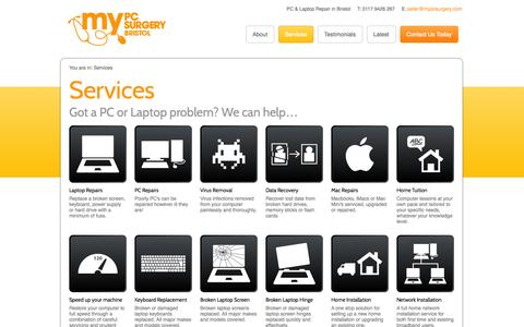 Screenshot of Services Page mypcsurgery.com - Services | My PC Surgery - captured Oct. 26, 2014