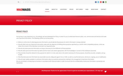 Screenshot of Privacy Page madmaids.ca - Mad Maids Cleaning   » Privacy Policy - captured Sept. 30, 2014